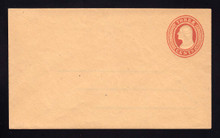 U10 UPSS # 20 3c Red on Buff, die 5, Mint Entire, Adherence on back, Front Clean
