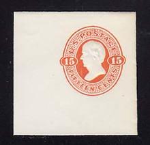 U96 15c Red Orange on White, Mint Cut Square, 50 x 50