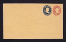 U29 UPSS # 61 3c Red & 1c Blue on Buff, Mint Entire, RARE Knife