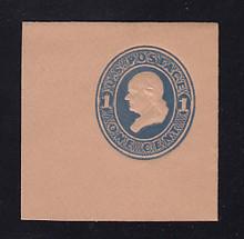 U118 1c Light Blue on Fawn, die 2, Mint Full Corner, 50 x 50, Horisontally Laid Paper