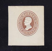 U122 2c Brown on White, die 1, Mint Cut Square, 43 x 46