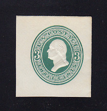 U159 3c Green on White, die 1, Mint Cut Square, 37 x 40