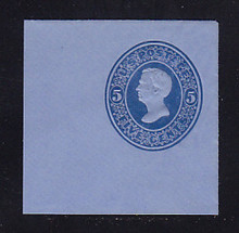 U179 5c Blue on Blue, die 2, Mint Cut Square, 50 x 50
