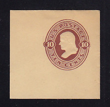 U193a 10c Red Brown on Manila, die 2, Mint Cut Square, 50 x 50