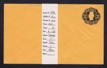 U56 UPSS # 116a/T37 2c Black on Orange, die 4, Mint Entire