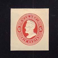 UO38 6c Vermillion on Cream, Mint Cut Square, 35 x 38