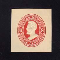 UO38 6c Vermillion on Cream, Mint Cut Square, 35 x 37