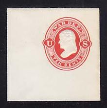 UO39 10c Vermillion on White, Mint Full Corner, 50 x 50