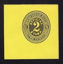 UO5 2c Black on Lemon, Mint Full Corner, 50 x 50