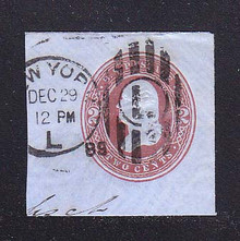 U290 2c Brown on Blue, die 2, Used Cut Square, 45 x 43