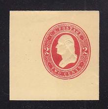 U237 2c Red on Amber, Mint Cut Square, 47 x 47