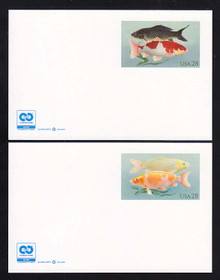 UX555 & UX556 UPSS # S569Aa & S570Aa 28c Koi Fish w/ 2C2 Logo, Mint Postal Cards