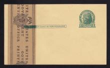 UX27 UPSS# S37EPUv-2 1c Thomas Jefferson, Green on Buff, Paste-up, Mint Postal Card