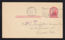 UX33 UPSS# S45-39, Salt Lake City Surcharge, Used Postal Card