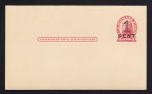UX35 UPSS# S47-1, Washington Press Printed Surcharge, Mint Postal Card, Minor crease LL
