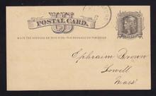 UX4 UPSS# S3c 1c Liberty Head, Small Watermark, Inversed & Reversed, Used Postal Card