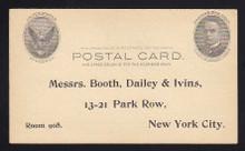 "UX17 UPSS# S21 1c ""Full Face"" McKinley, Black on Buff, Unused Postal Card"