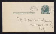 UX27C UPSS# S38 1c Thomas Jefferson, Dark Green on Grayish Used Postal Card