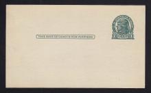 UX27D UPSS# S39 1c Thomas Jefferson, Dark Green on Grayish Clean Face Postal Card