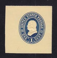 U297 1c Dark Blue on Amber, Mint Cut Square, 43 x 44