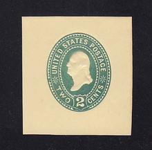 U306 2c Green on Amber, die 1, Mint Cut Square, 41 x 44