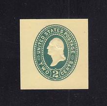 U319 2c Green on Amber, die 3, Mint Cut Square, 36 x 38