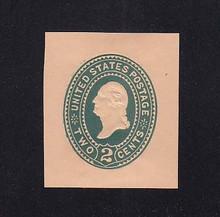 U320 2c Green on Oriental Buff, die 3, Mint Cut Square, 35 x 40