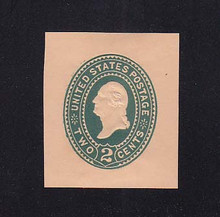 U320 2c Green on Oriental Buff, die 3, Mint Cut Square, 35 x 40