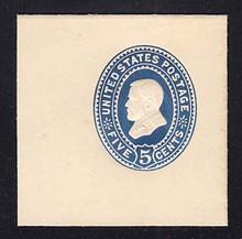 U334 5c Blue on White, die 2, Mint Cut Square, 47 x 47