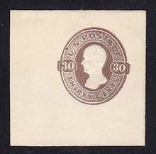 U336b 30c CHOCOLATE on White, Mint Cut Square, 50 x 50