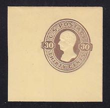 U337b 30c CHOCOLATE on Amber, Mint Full Corner, 50 x 50