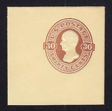 U337 30c Red Brown on Amber, Mint Cut Square, 50 x 50
