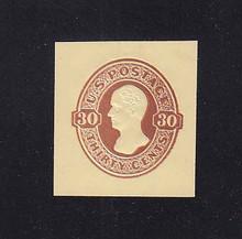 U337 30c Red Brown on Amber, Mint Cut Square, 34 x 36