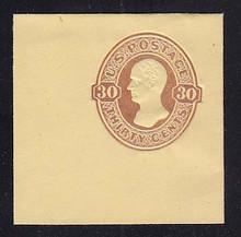 U341 30c Red Brown on Amber Manila, Mint Full Corner, 50 x 50