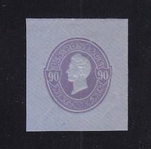 U345 90c Purple on Blue, Mint Cut Square, 38 x 43