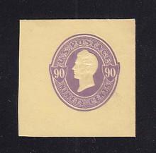 U346 90c Purple on Amber Manila, Mint Cut Square, 43 x 43