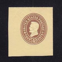 U375 4c Brown on Amber, die 3, Mint Cut Square, 41 x 45