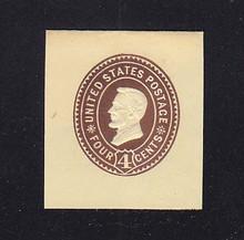 U375 4c Brown on Amber, die 3, Mint Cut Square, 37 x 42