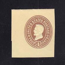 U375 4c Brown on Amber, die 3, Mint Cut Square, 38 x 41