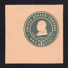 U381 1c Green on Oriental Buff, Mint Full Corner, 50 x 50