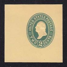 U319 2c Green on Amber, die 3, Mint Cut Square, 50 x 50