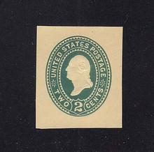 U323 2c Green on Amber Manila, die 3, Mint Cut Square, 32 x 38