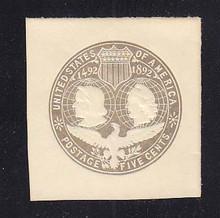 U350a 5c Slate (error of color) on White, Mint Cut Square, 44 x 47