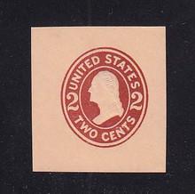U408a 2c Brown Red on Oriental Buff, die 2, Mint Cut Square, 39 x 42