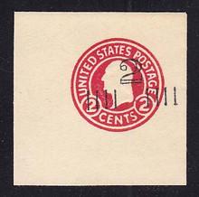 U454b 2c on 2c Carmine on White, die 5, Mint Full Corner, 50 x 50