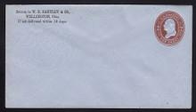 U262 UPSS # 696 2c Brown on Blue, Mint Entire, CC
