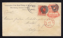 U218 UPSS # 643-3 3c Red on White, die 1, Used Entire to BELGIUM from Centennial, Bomar P76-01