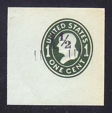 U493 1 1/2c on 1c Green on Blue, die 4, Mint Cut Square, 47 x 47