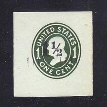 U493 1 1/2c on 1c Green on Blue, die 4, Mint Cut Square, 41 x 44