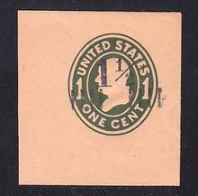 U492a 1 1/2c on 1c Green on Oriental Buff, die 4, Mint Full Corner, 46 x 50